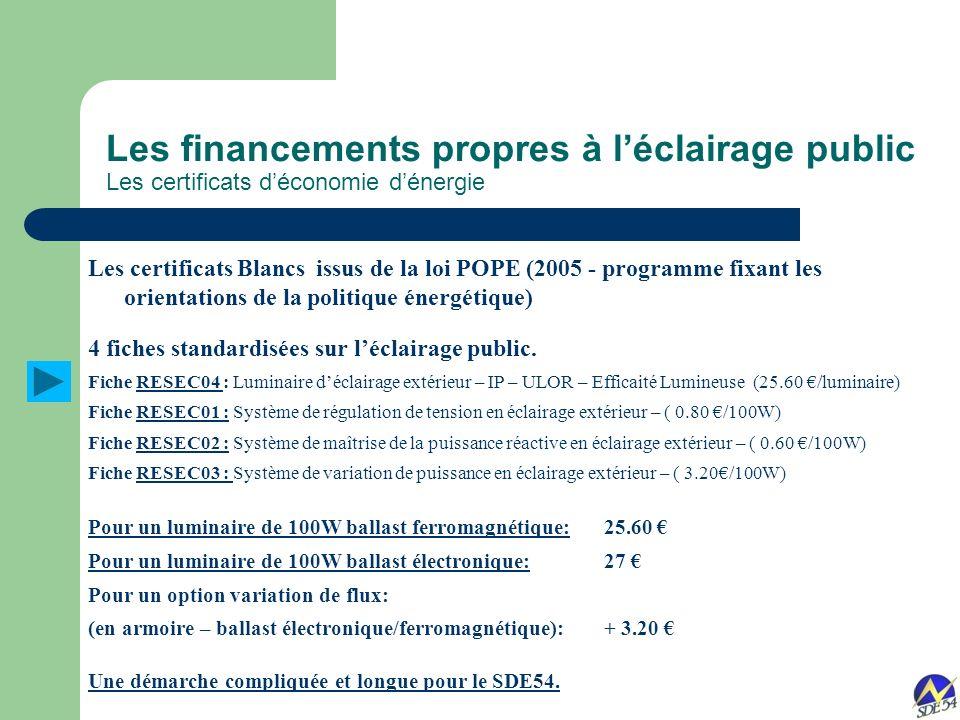 Les financements propres à léclairage public Les certificats déconomie dénergie Les certificats Blancsissus de la loi POPE (2005 - programme fixant les orientations de la politique énergétique) 4 fiches standardisées sur léclairage public.