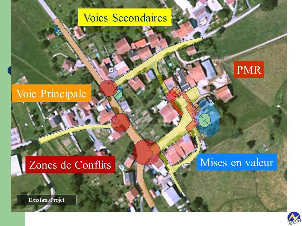 Illustration Zonage Etude dun cas: Montreux (54) PMR Mises en valeur Voie Principale Voies Secondaires Zones de Conflits Existant/Projet