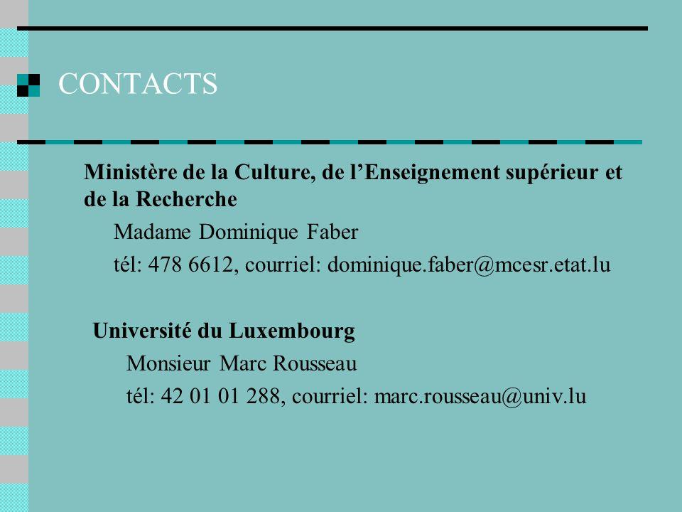 CONTACTS Ministère de la Culture, de lEnseignement supérieur et de la Recherche Madame Dominique Faber tél: 478 6612, courriel: dominique.faber@mcesr.etat.lu Université du Luxembourg Monsieur Marc Rousseau tél: 42 01 01 288, courriel: marc.rousseau@univ.lu