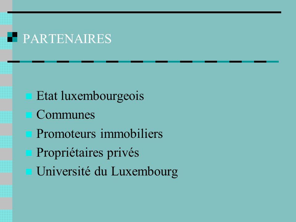 PARTENAIRES Etat luxembourgeois Communes Promoteurs immobiliers Propriétaires privés Université du Luxembourg