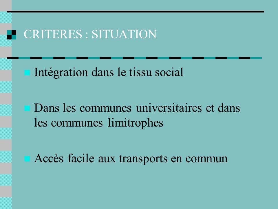 CRITERES : SITUATION Intégration dans le tissu social Dans les communes universitaires et dans les communes limitrophes Accès facile aux transports en commun