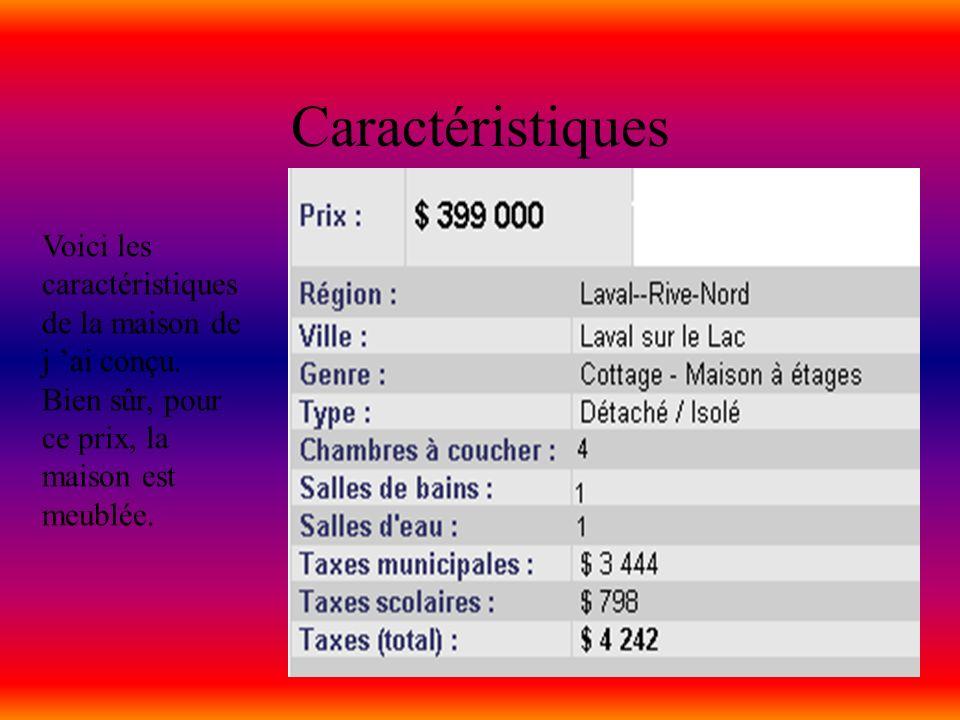 Caractéristiques Voici les caractéristiques de la maison de j ai conçu. Bien sûr, pour ce prix, la maison est meublée.
