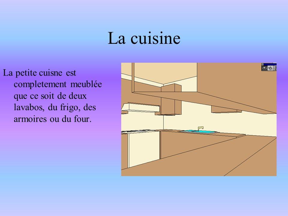 La cuisine La petite cuisne est completement meublée que ce soit de deux lavabos, du frigo, des armoires ou du four.