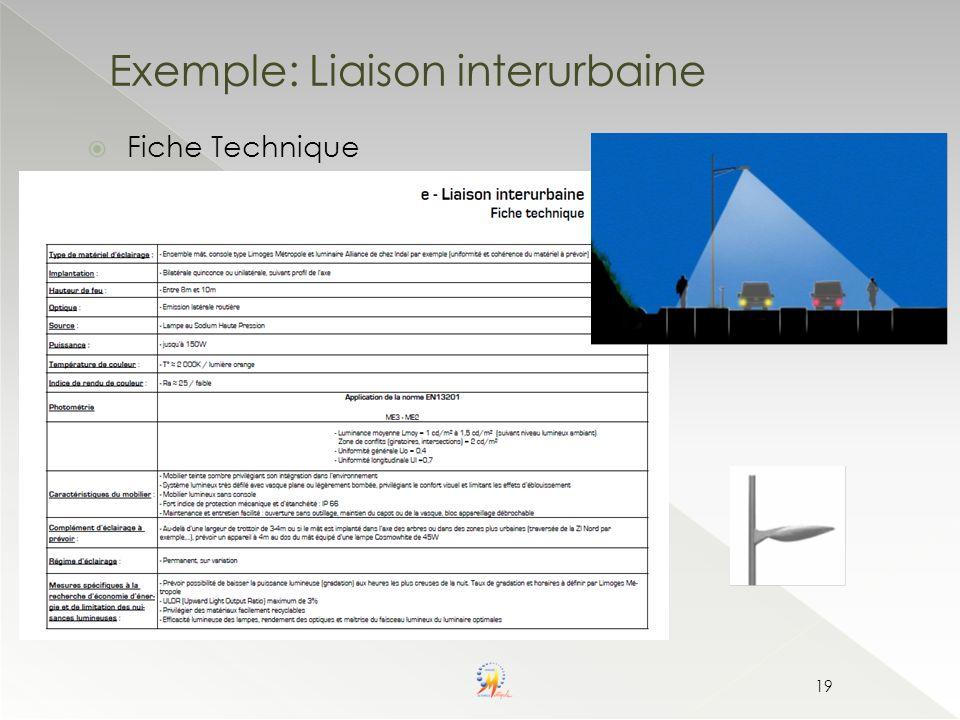19 Exemple: Liaison interurbaine Fiche Technique