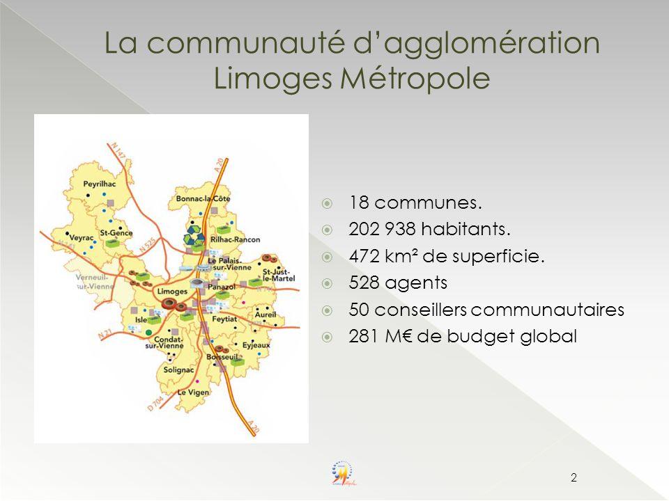La communauté dagglomération Limoges Métropole 18 communes. 202 938 habitants. 472 km² de superficie. 528 agents 50 conseillers communautaires 281 M d