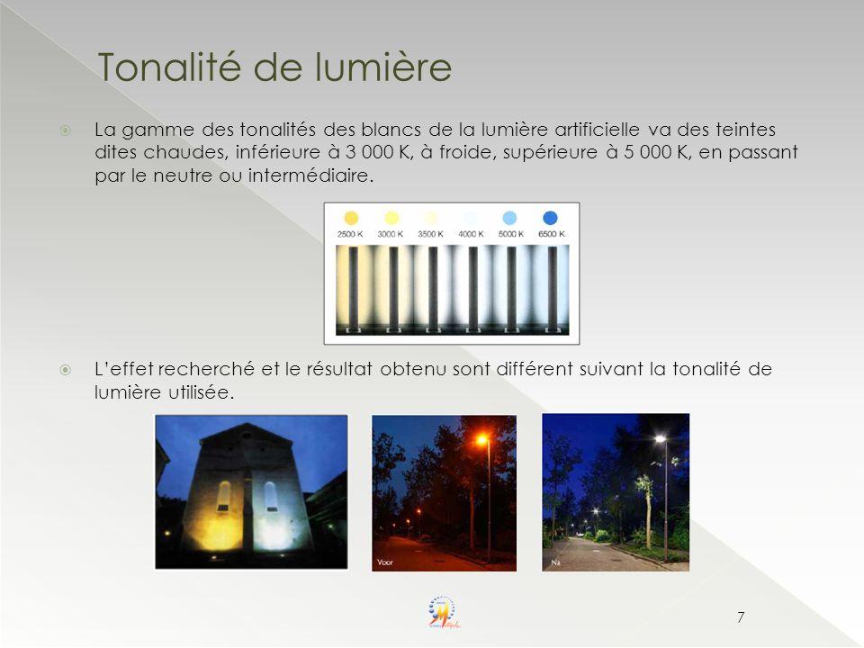 Tonalité de lumière La gamme des tonalités des blancs de la lumière artificielle va des teintes dites chaudes, inférieure à 3 000 K, à froide, supérie