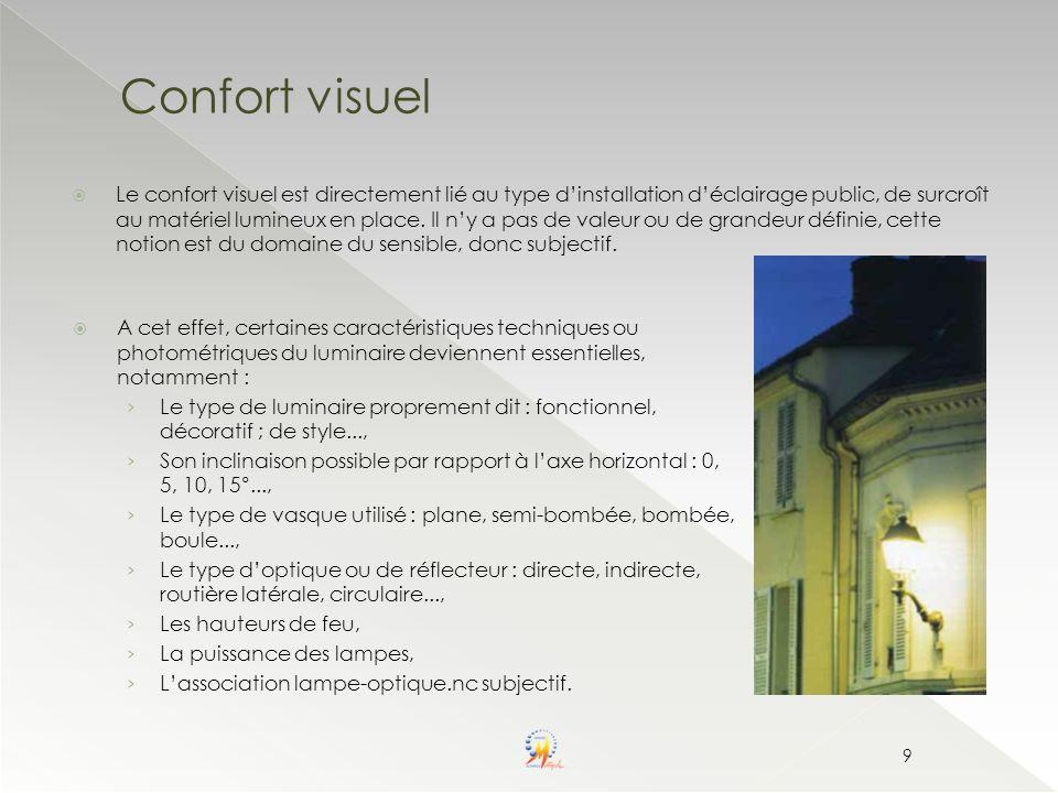 Confort visuel Le confort visuel est directement lié au type dinstallation déclairage public, de surcroît au matériel lumineux en place. Il ny a pas d