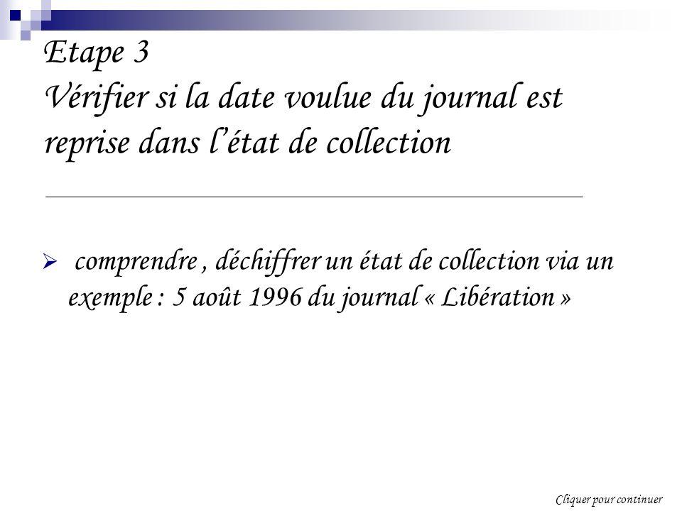 Etape 3 Vérifier si la date voulue du journal est reprise dans létat de collection comprendre, déchiffrer un état de collection via un exemple : 5 août 1996 du journal « Libération » Cliquer pour continuer