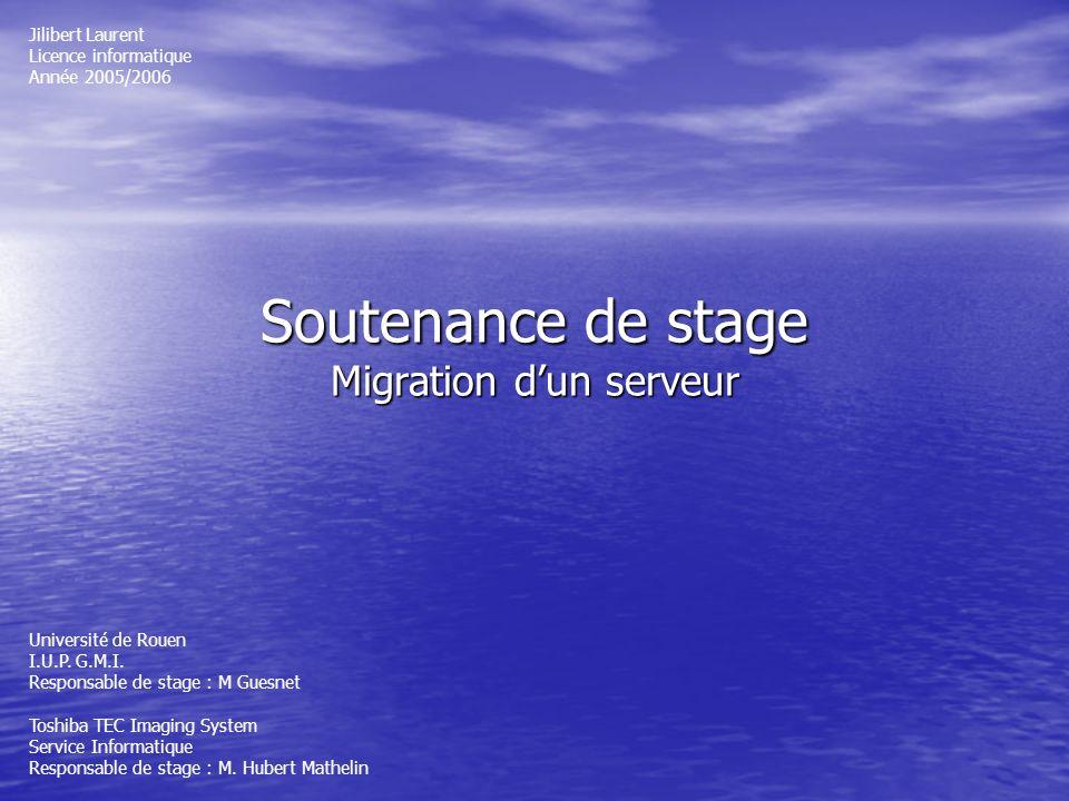 Soutenance de stage Migration dun serveur Jilibert Laurent Licence informatique Année 2005/2006 Université de Rouen I.U.P. G.M.I. Responsable de stage