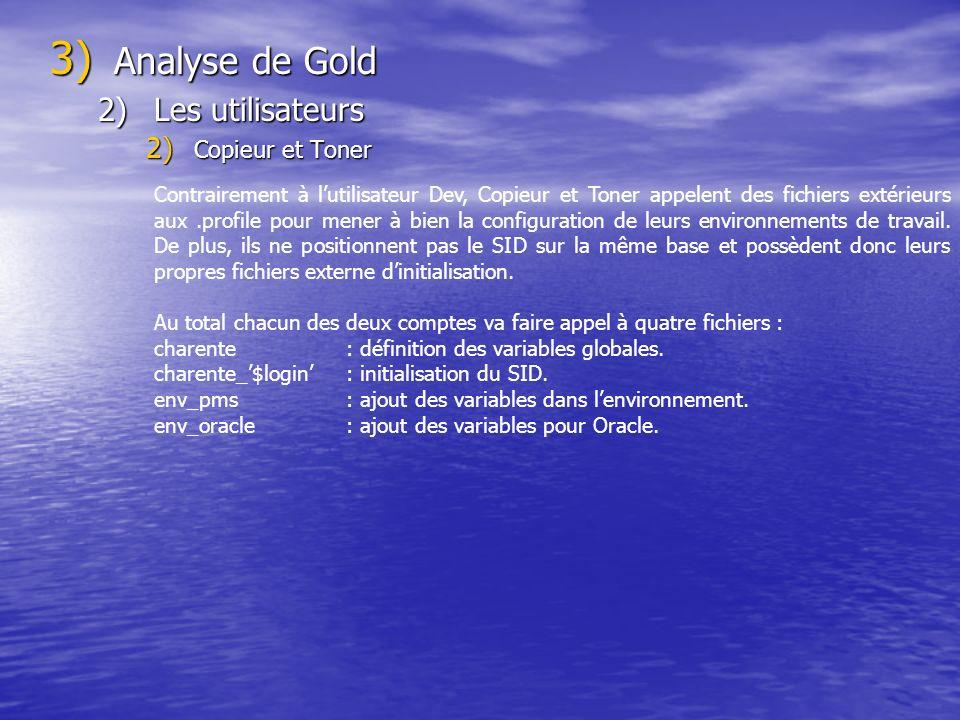 3) Analyse de Gold 2)Les utilisateurs 2) Copieur et Toner Contrairement à lutilisateur Dev, Copieur et Toner appelent des fichiers extérieurs aux.profile pour mener à bien la configuration de leurs environnements de travail.