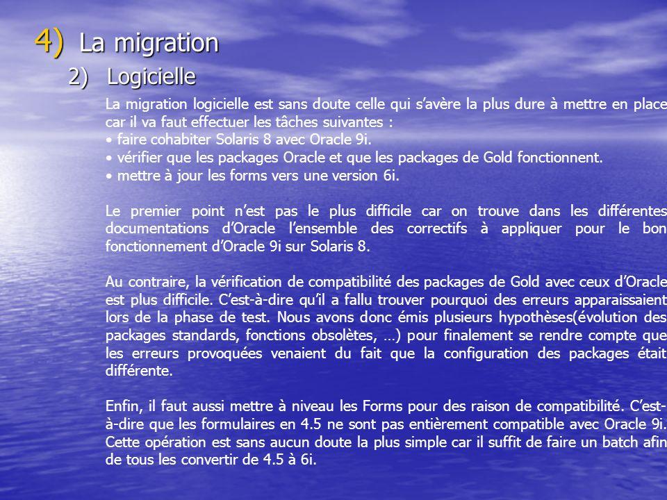 4) La migration 2)Logicielle La migration logicielle est sans doute celle qui savère la plus dure à mettre en place car il va faut effectuer les tâche