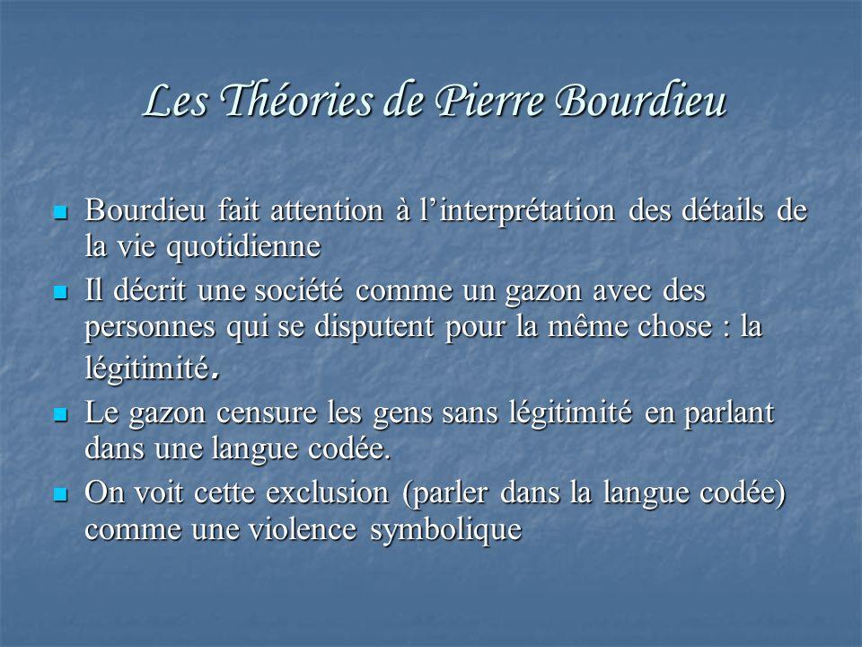 Les Théories de Pierre Bourdieu Bourdieu fait attention à linterprétation des détails de la vie quotidienne Bourdieu fait attention à linterprétation