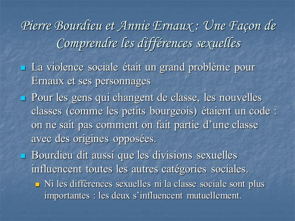 Pierre Bourdieu et Annie Ernaux : Une Façon de Comprendre les différences sexuelles La violence sociale était un grand problème pour Ernaux et ses per
