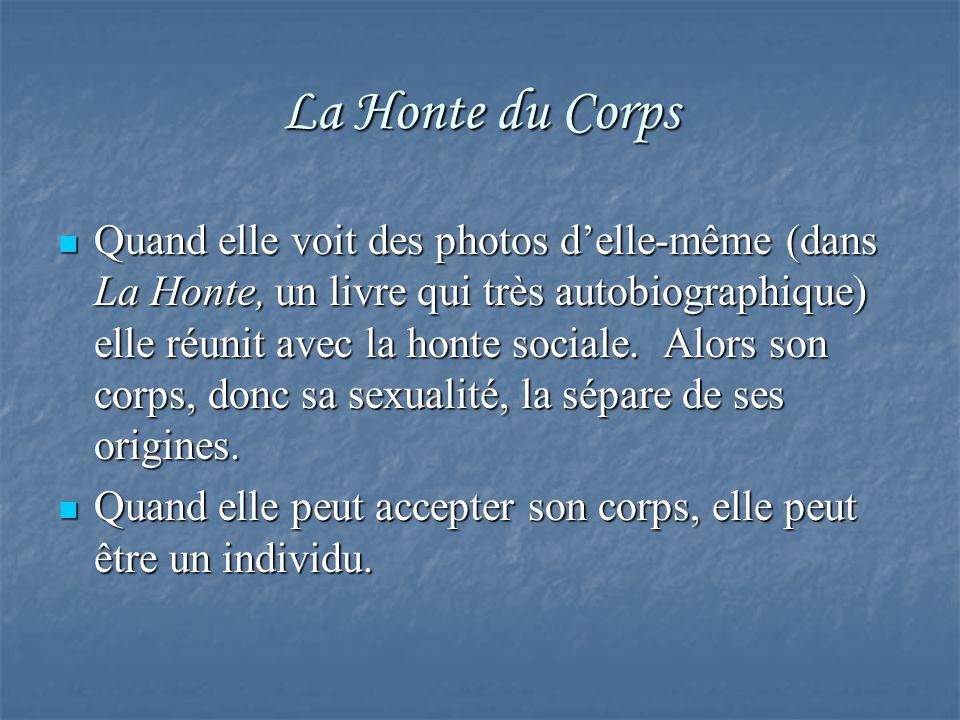 La Honte du Corps Quand elle voit des photos delle-même (dans La Honte, un livre qui très autobiographique) elle réunit avec la honte sociale. Alors s
