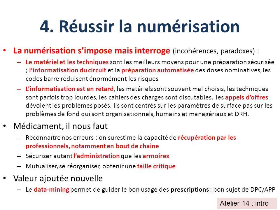 4. Réussir la numérisation La numérisation simpose mais interroge (incohérences, paradoxes) : – Le matériel et les techniques sont les meilleurs moyen
