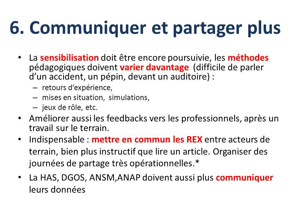 6. Communiquer et partager plus La sensibilisation doit être encore poursuivie, les méthodes pédagogiques doivent varier davantage (difficile de parle