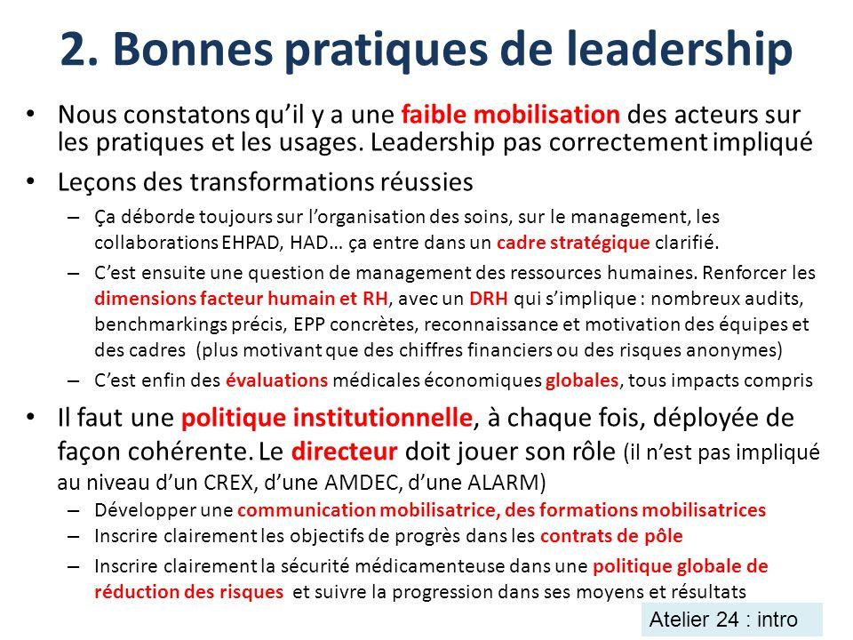 2. Bonnes pratiques de leadership Nous constatons quil y a une faible mobilisation des acteurs sur les pratiques et les usages. Leadership pas correct