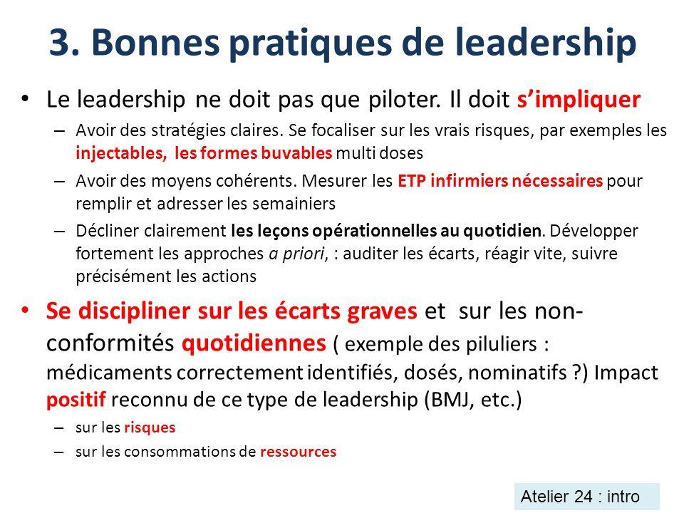 3. Bonnes pratiques de leadership Le leadership ne doit pas que piloter. Il doit simpliquer – Avoir des stratégies claires. Se focaliser sur les vrais