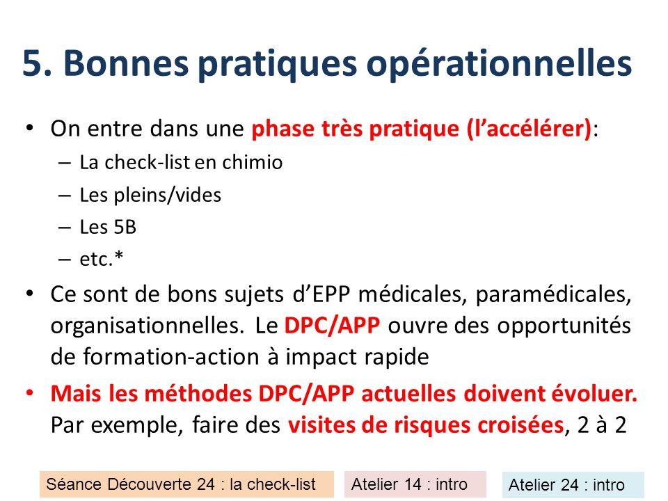 5. Bonnes pratiques opérationnelles On entre dans une phase très pratique (laccélérer): – La check-list en chimio – Les pleins/vides – Les 5B – etc.*