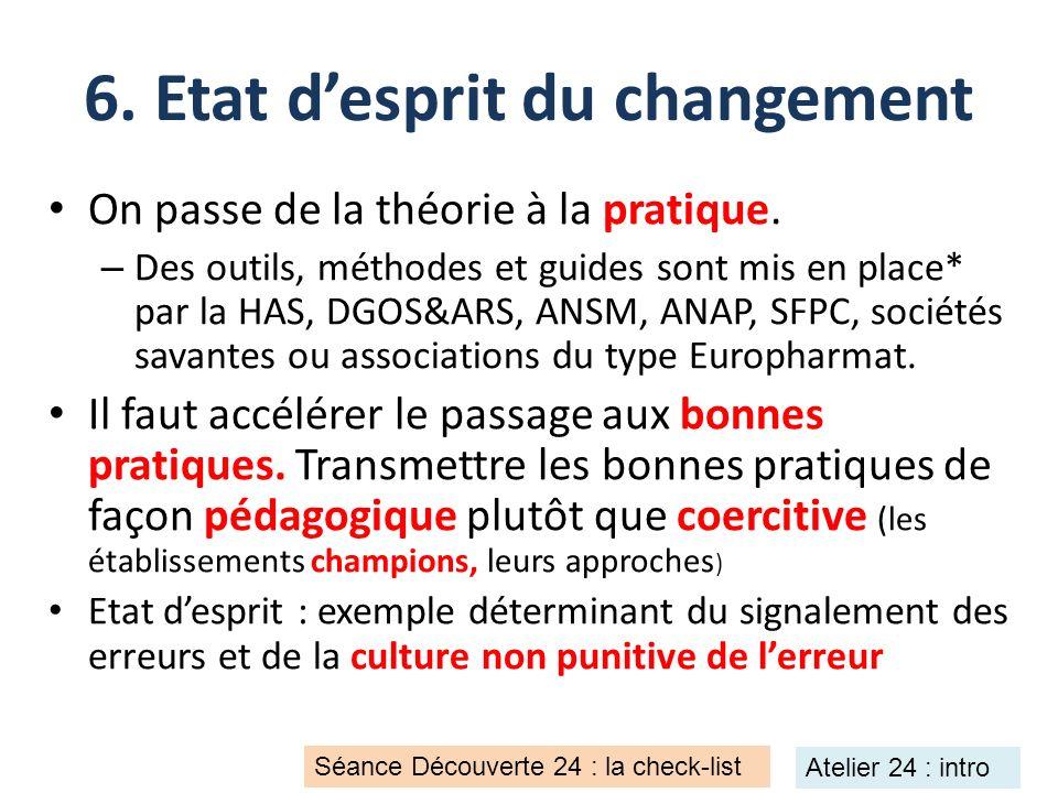 6. Etat desprit du changement On passe de la théorie à la pratique. – Des outils, méthodes et guides sont mis en place* par la HAS, DGOS&ARS, ANSM, AN