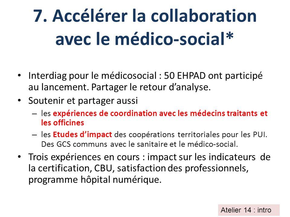 7. Accélérer la collaboration avec le médico-social* Interdiag pour le médicosocial : 50 EHPAD ont participé au lancement. Partager le retour danalyse