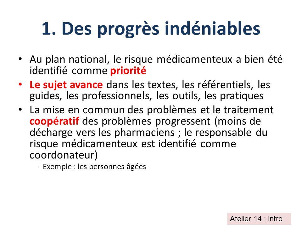 1. Des progrès indéniables Au plan national, le risque médicamenteux a bien été identifié comme priorité Le sujet avance dans les textes, les référent