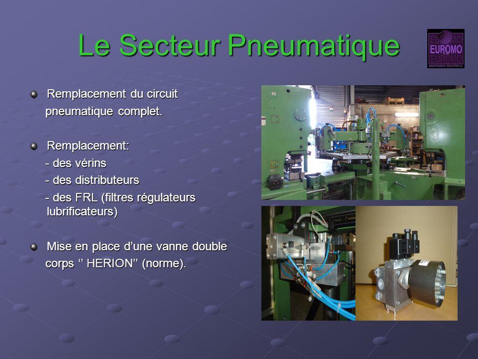 Le Secteur Pneumatique Remplacement du circuit pneumatique complet. pneumatique complet.Remplacement: - des vérins - des vérins - des distributeurs -