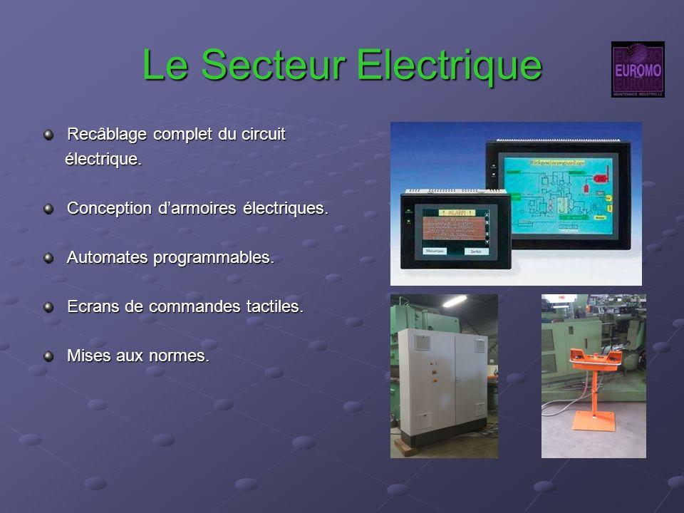 Le Secteur Electrique Recâblage complet du circuit électrique. électrique. Conception darmoires électriques. Automates programmables. Ecrans de comman