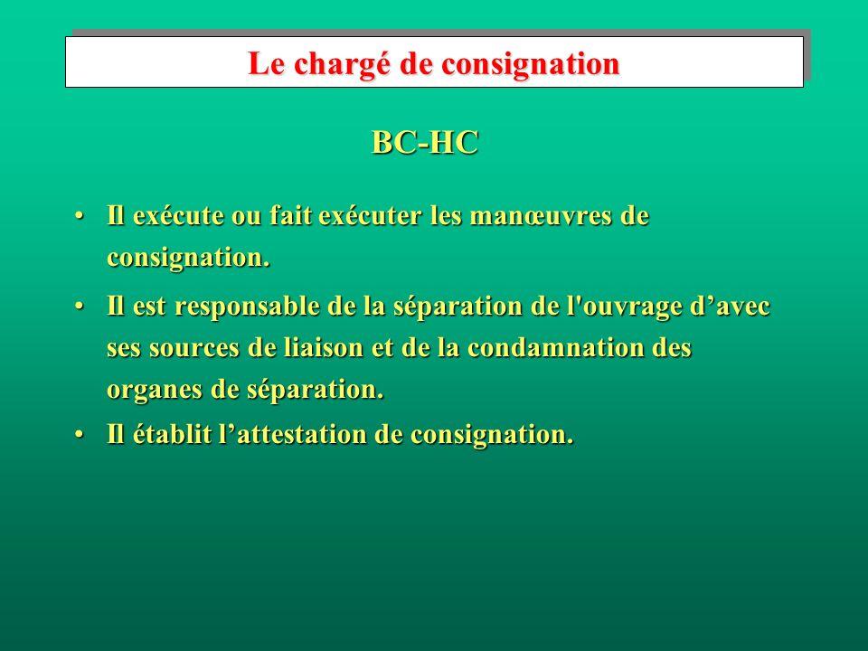 Le chargé de consignation Il exécute ou fait exécuter les manœuvres de consignation.Il exécute ou fait exécuter les manœuvres de consignation.