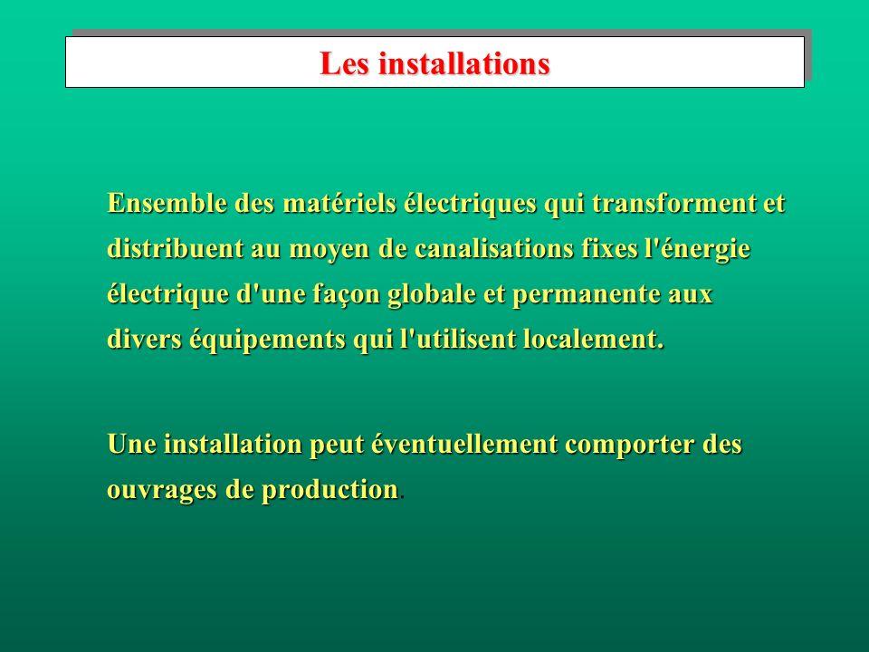 Les installations Ensemble des matériels électriques qui transforment et distribuent au moyen de canalisations fixes l énergie électrique d une façon globale et permanente aux divers équipements qui l utilisent localement.