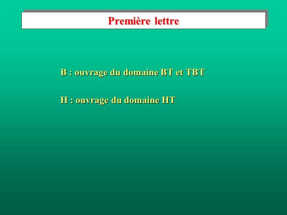 Première lettre B : ouvrage du domaine BT et TBT H : ouvrage du domaine HT