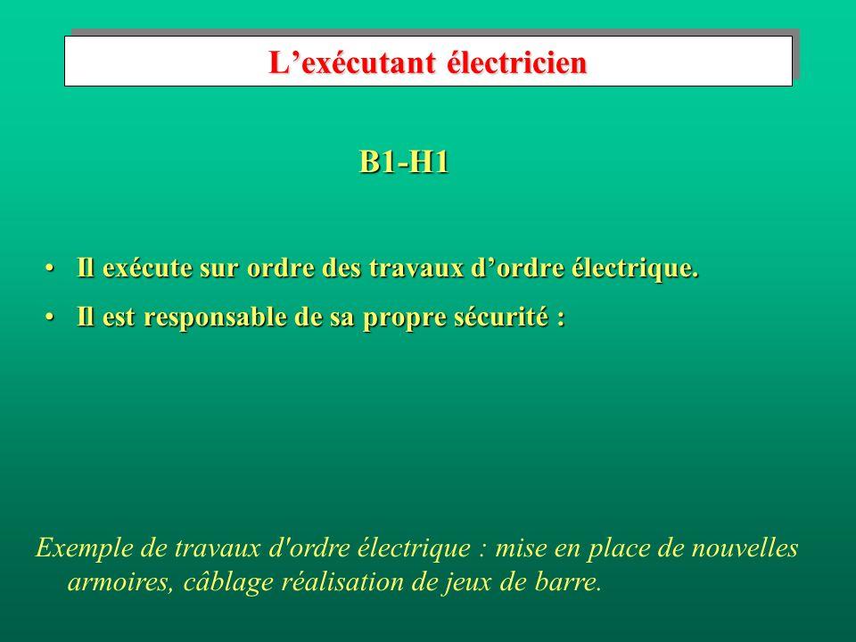 Lexécutant électricien Il exécute sur ordre des travaux dordre électrique.Il exécute sur ordre des travaux dordre électrique.