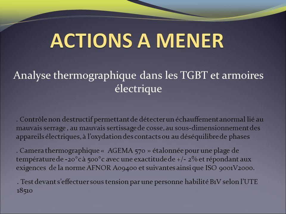 Analyse thermographique dans les TGBT et armoires électrique. Contrôle non destructif permettant de détecter un échauffement anormal lié au mauvais se