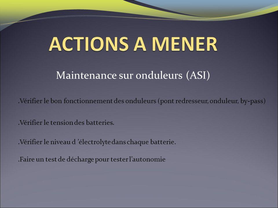 Maintenance sur onduleurs (ASI).Vérifier le bon fonctionnement des onduleurs (pont redresseur, onduleur, by-pass).Vérifier le niveau d électrolyte dan