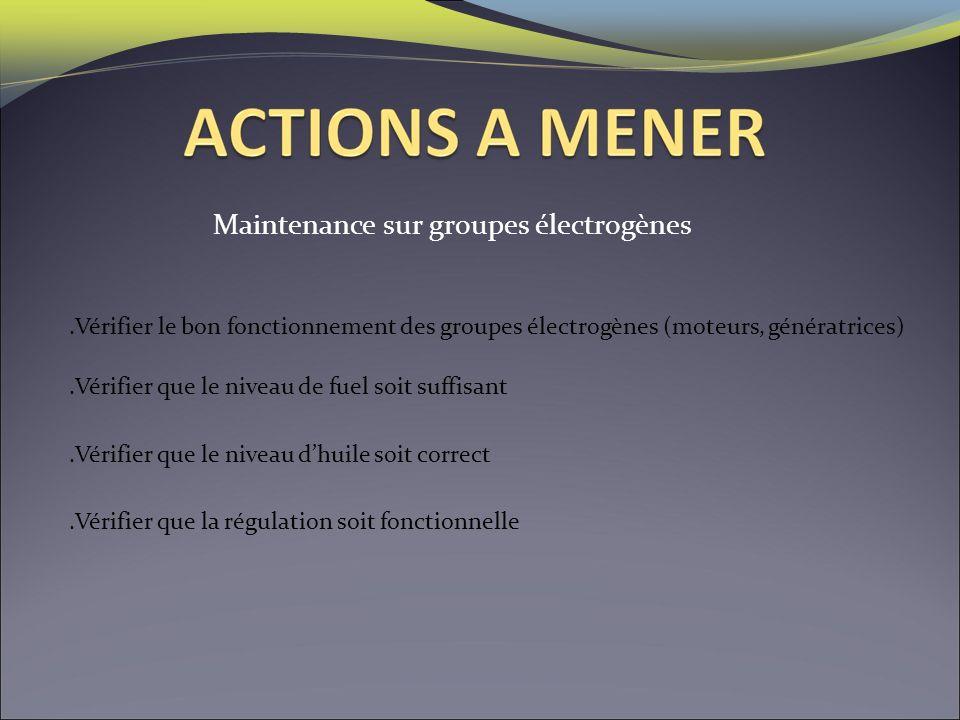 Maintenance sur groupes électrogènes.Vérifier le bon fonctionnement des groupes électrogènes (moteurs, génératrices).Vérifier que le niveau de fuel so
