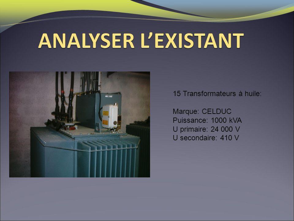 15 Transformateurs à huile: Marque: CELDUC Puissance: 1000 kVA U primaire: 24 000 V U secondaire: 410 V