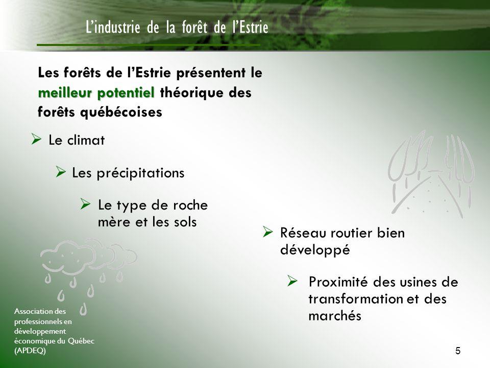 Association des professionnels en développement économique du Québec (APDEQ) 6 Lindustrie de la forêt de lEstrie Il nous faut donc intensifier laménagement forestier afin daugmenter la productivité de la forêt estrienne ainsi que le nombre de tiges de qualité Pour y arriver, il faudra notamment 1.Investir dans la recherche forestière 2.Inciter un plus grand nombre de propriétaires forestiers à exploiter et/ou à mettre en valeur leur(s) boisé(s) 3.Valoriser les métiers de la forêt 4.Sengager dans une démarche de certification forestière