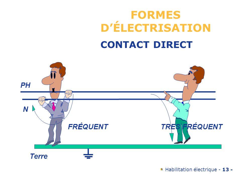 Habilitation électrique - 13 - PH N É FRÉQUENTTRES FRÉQUENT Terre FORMES DÉLECTRISATION CONTACT DIRECT