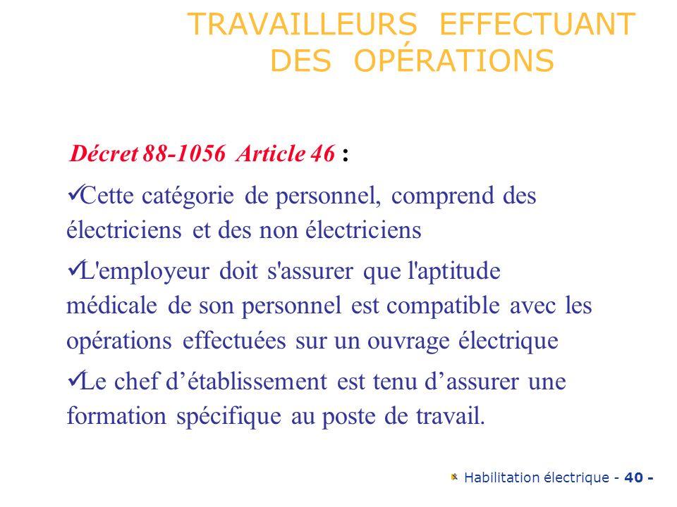 Habilitation électrique - 40 - TRAVAILLEURS EFFECTUANT DES OPÉRATIONS Décret 88-1056 Article 46 : Cette catégorie de personnel, comprend des électrici