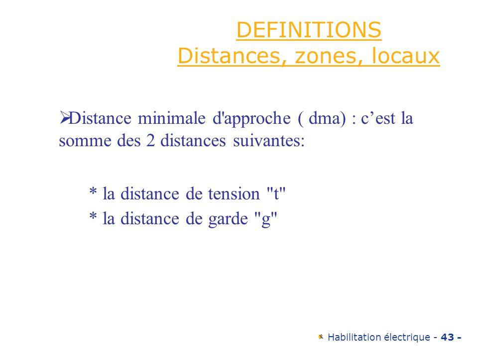 Habilitation électrique - 43 - DEFINITIONS Distances, zones, locaux Distance minimale d'approche ( dma) : cest la somme des 2 distances suivantes: * l