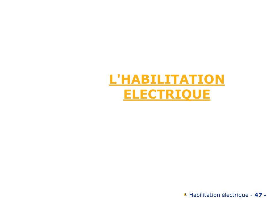 Habilitation électrique - 47 - L'HABILITATION ELECTRIQUE