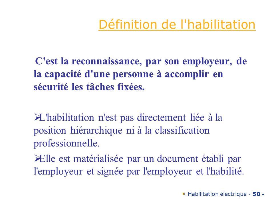 Habilitation électrique - 50 - Définition de l'habilitation C'est la reconnaissance, par son employeur, de la capacité d'une personne à accomplir en s