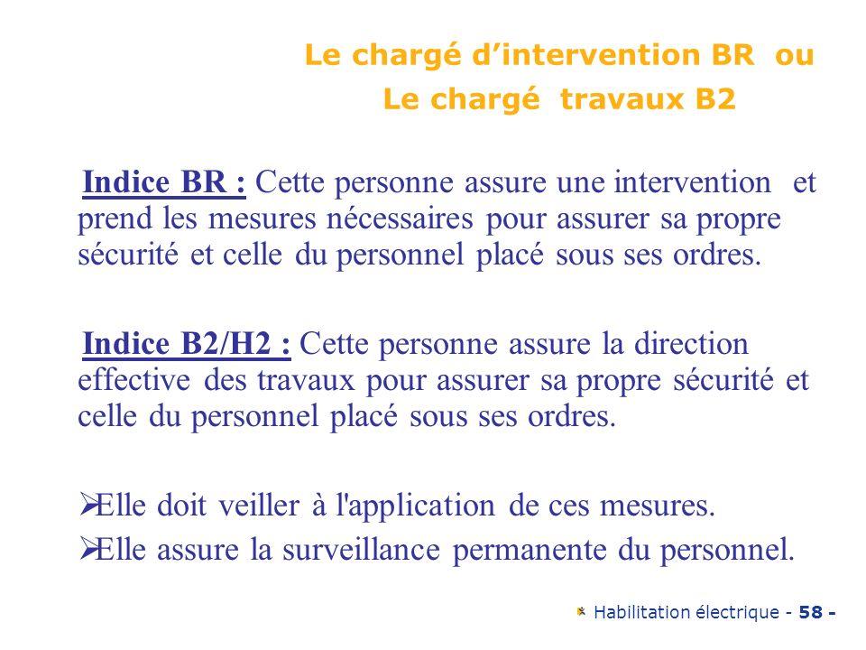 Habilitation électrique - 58 - Le chargé dintervention BR ou Le chargé travaux B2 Indice BR : Cette personne assure une intervention et prend les mesu