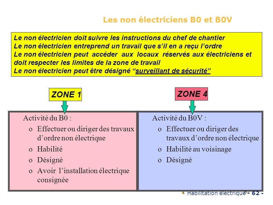 Habilitation électrique - 62 - 62 Les non électriciens B0 et B0V Activité du B0 : oEffectuer ou diriger des travaux dordre non électrique oHabilité oD