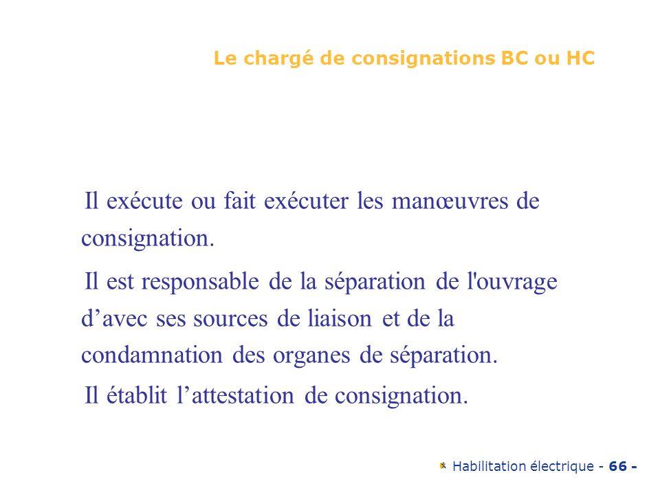 Habilitation électrique - 66 - Le chargé de consignations BC ou HC Il exécute ou fait exécuter les manœuvres de consignation. Il est responsable de la