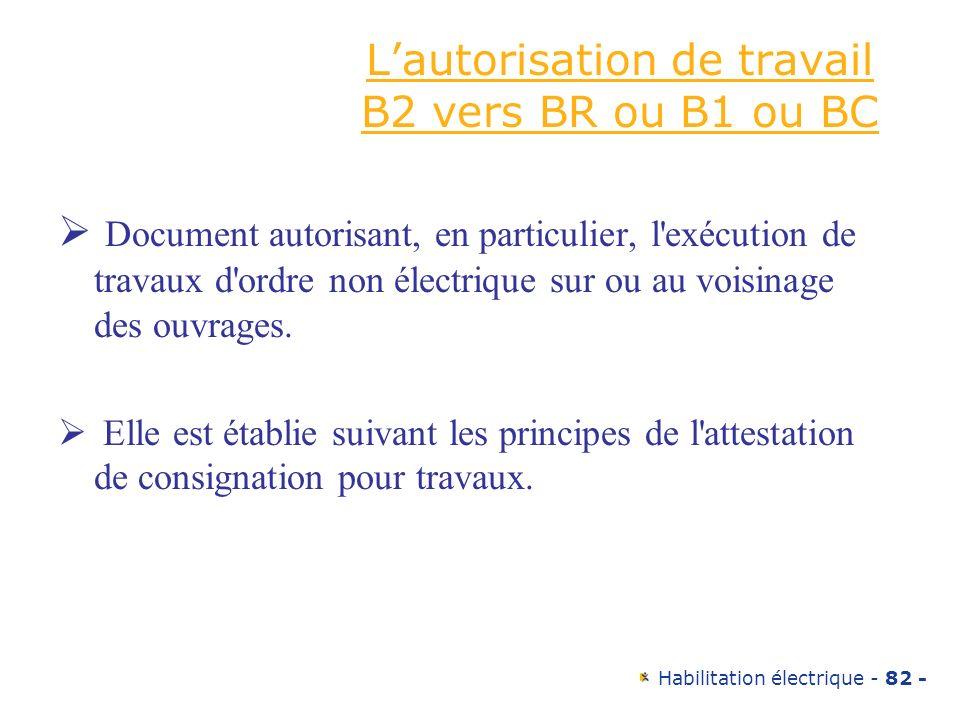 Habilitation électrique - 82 - Lautorisation de travail B2 vers BR ou B1 ou BC Document autorisant, en particulier, l'exécution de travaux d'ordre non