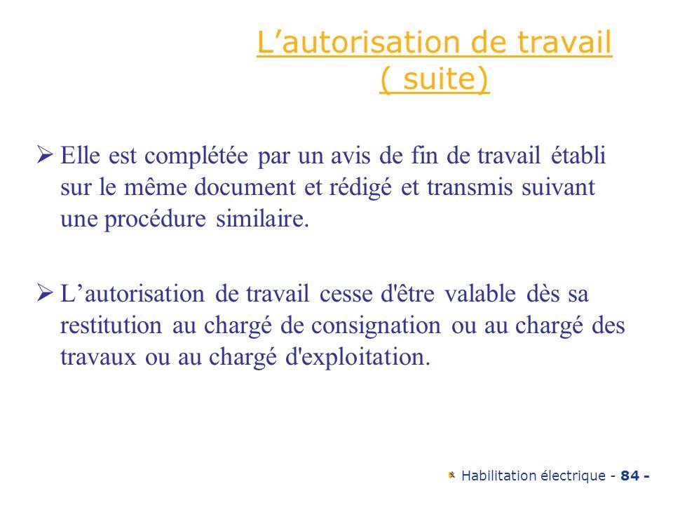 Habilitation électrique - 84 - Lautorisation de travail ( suite) Elle est complétée par un avis de fin de travail établi sur le même document et rédig