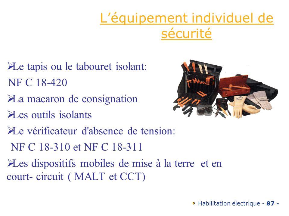 Habilitation électrique - 87 - Léquipement individuel de sécurité Le tapis ou le tabouret isolant: NF C 18-420 La macaron de consignation Les outils i