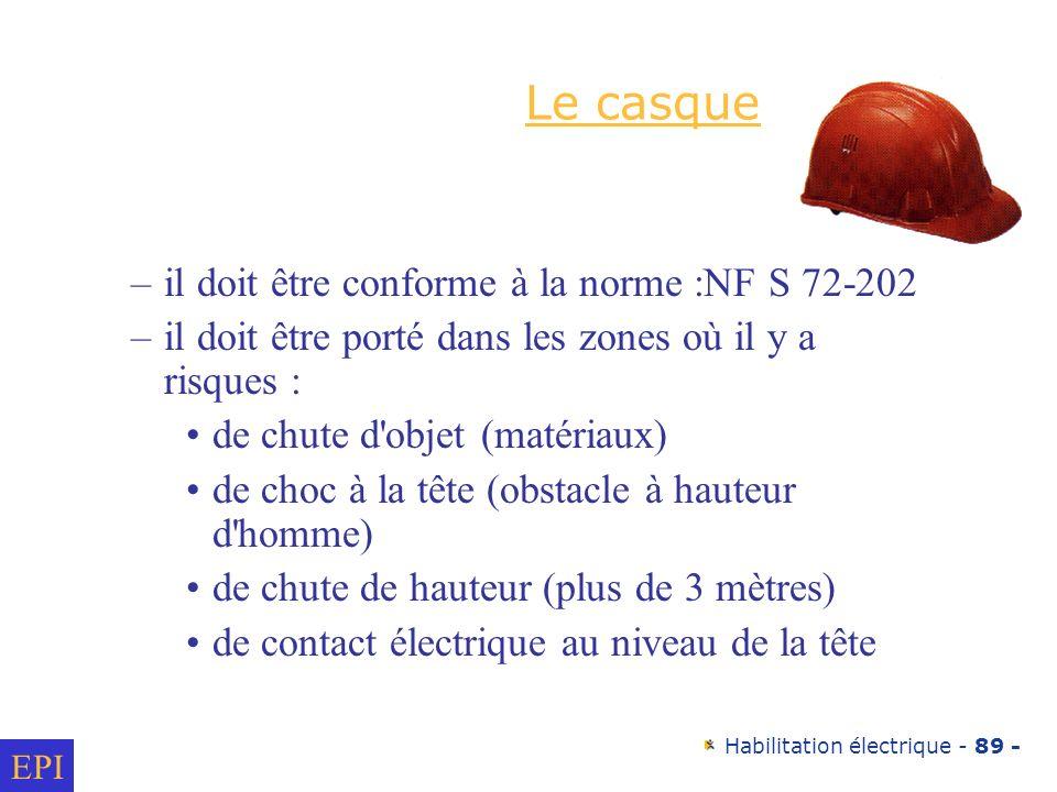 Habilitation électrique - 89 - Le casque –il doit être conforme à la norme :NF S 72-202 –il doit être porté dans les zones où il y a risques : de chut