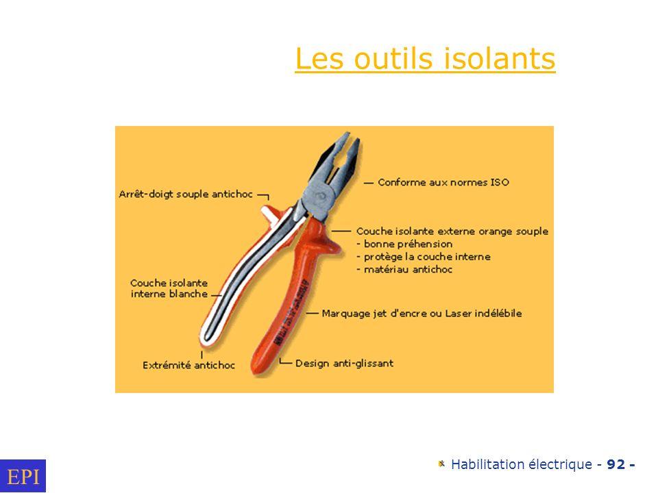 Habilitation électrique - 92 - EPI Les outils isolants
